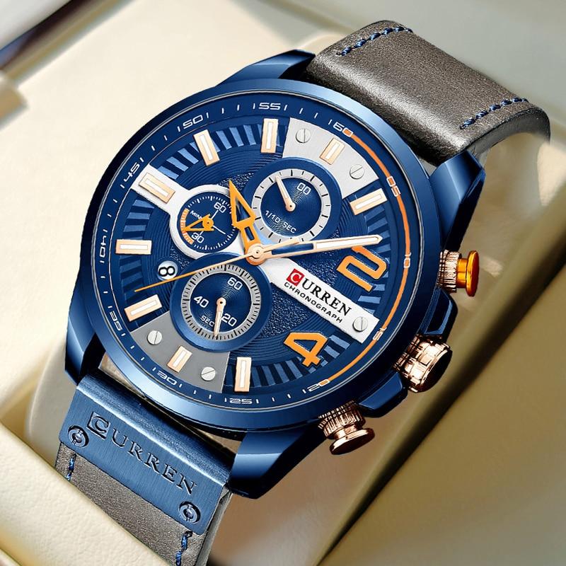 CURREN عادية موضة ساعة كرونوغراف للرجل العلامة التجارية الفاخرة ساعات كوارتز ساعة مع جلد أزرق جديد