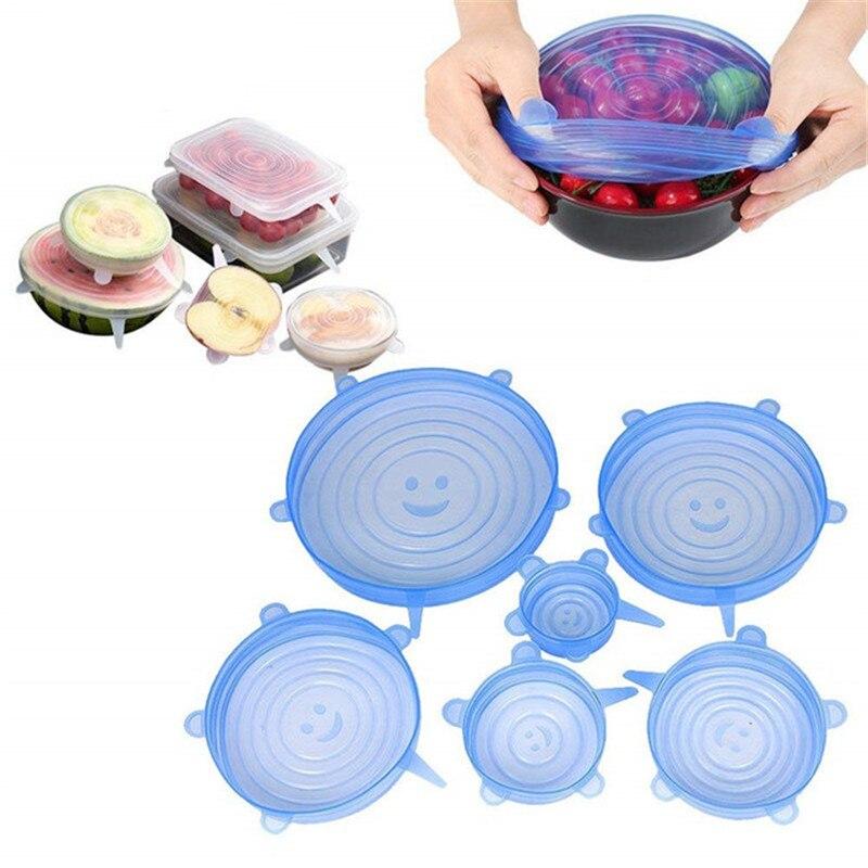 Tapas elásticas reutilizables de silicona para cocina, 6 uds., dispositivos de cocina accesorios, tapa Universal de silicona para envolver alimentos, tapa de tazón, utensilios de cocina