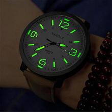 New Luminous PU Leather Mens Watches Luxury Men Military Quartz Army Wrist Watch Relogios Glow in Dark