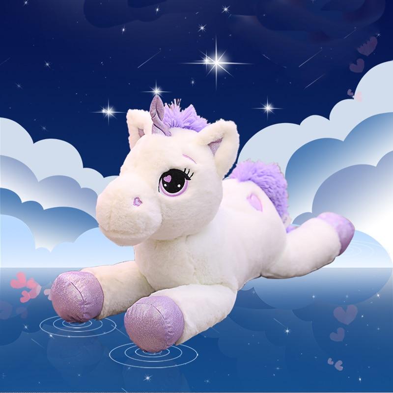 60-110cm Cartoon dream Unicorn doll plush toy bed girl sleeping pillow back sofa
