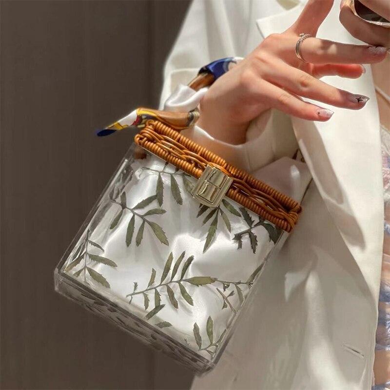 Transparent Acrylic Bamboo Top Handle Women Handbag Clear PVC Box Shape Rattan Tote Bags For Women Bohemian Beach Lady Hand Bags