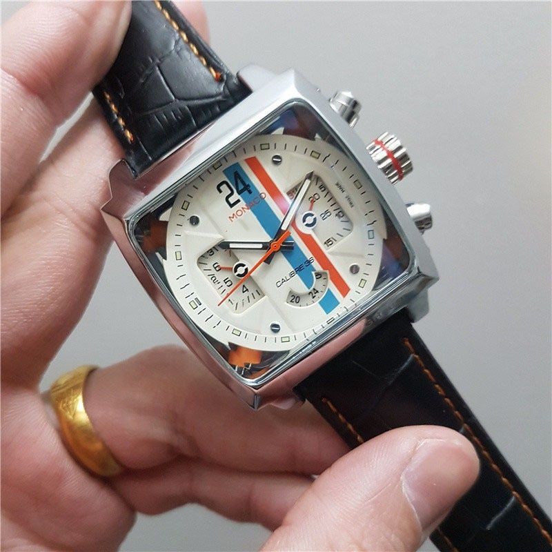 Monaco-24 men watches Top Brand Luxury Watch Men tonneau Automatic Tourbillon Business Heuer Mechani