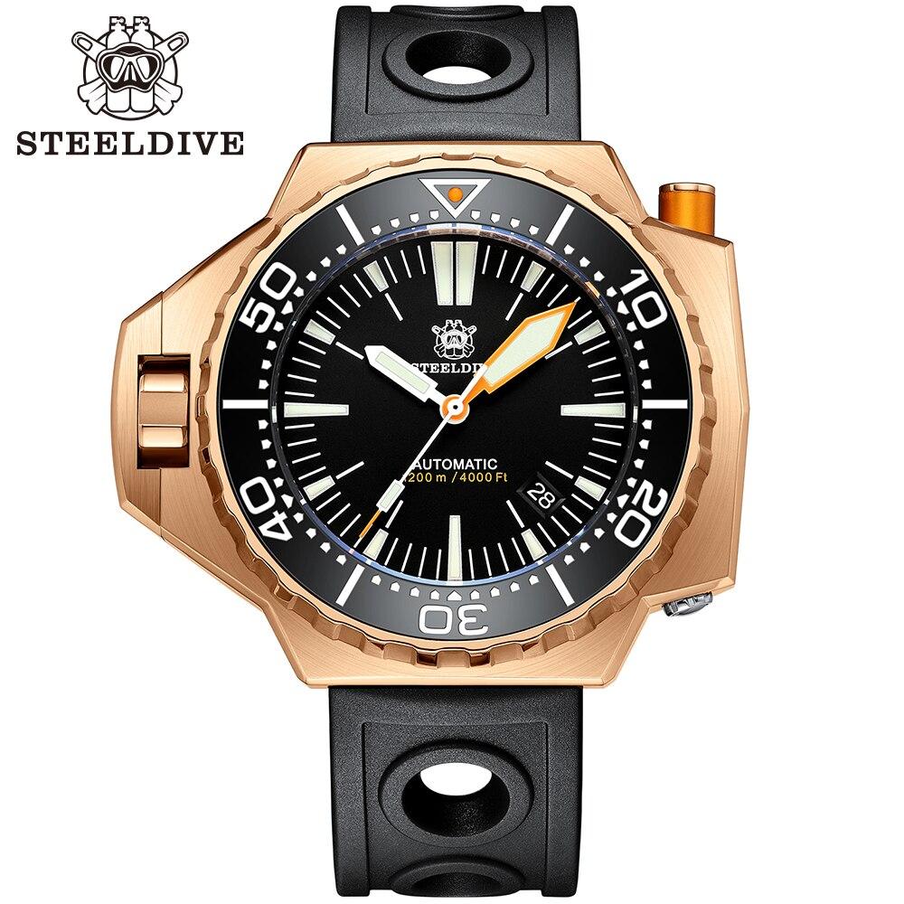 SD1969S steelالغوص الفاخرة برونزية ساعة BGW9 مضيئة الطلب الكبير مزدوجة الدورية الحافة NH35 1200 متر مقاوم للماء ساعة اليد للرجال الغوص