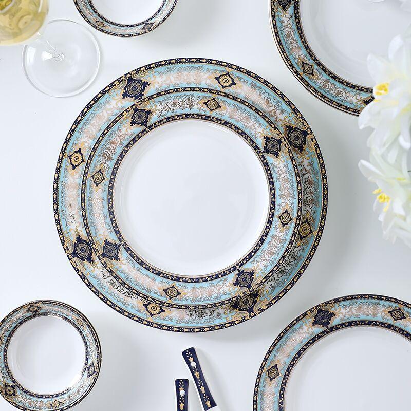 أطباق عشاء أواني الطعام الفخار لوحة السيراميك مجموعة أدوات المائدة الباروك خمر بوتيك صينية مزخرفة أطباق