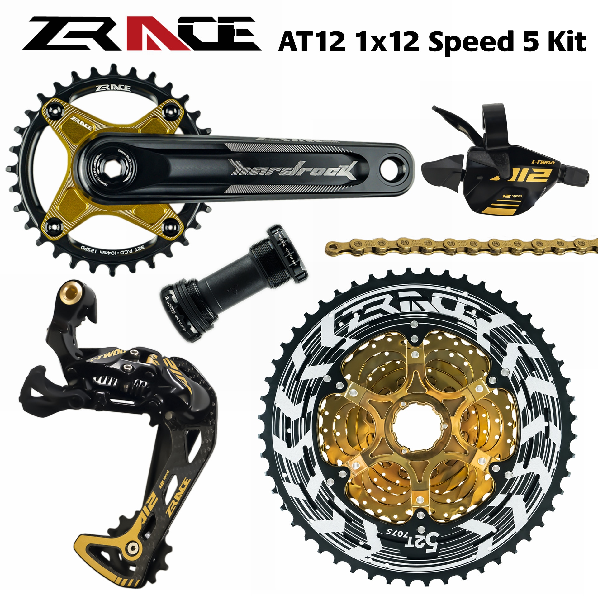 ZRACE X LTWOO AT12 12-platos y bielas de velocidad + palanca + 12s desviador trasero + Alpha 52 T Cassette/platos + águila GX / M9100