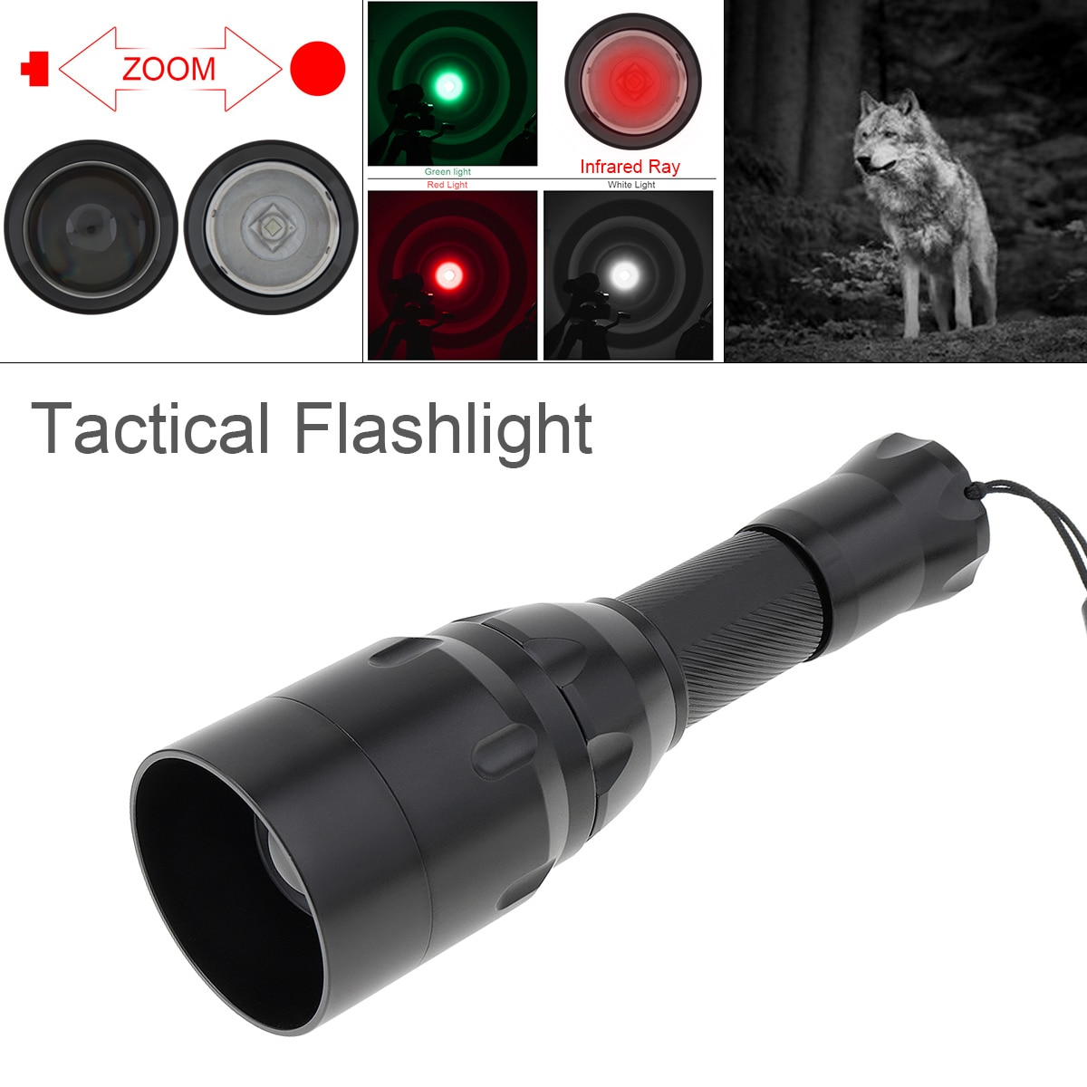 SecurityIng Tactical Hunting Flashlight 1500Lumen Rifle Lantern Portable C16 Zoomable White Green Red Infrared Light for