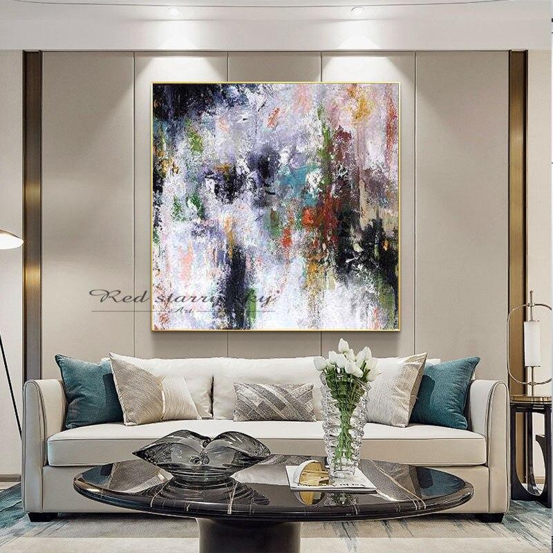 Pintura moderna grande de flores oleo, lienzo de arte de pared abstracto...