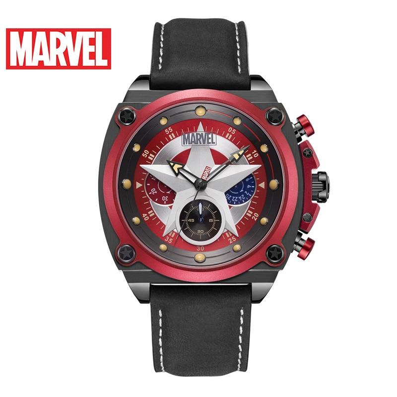 Disney Marvel Men's Watch Captain America Quartz Belt Trendy Sports Personalized Six-Pin Watch