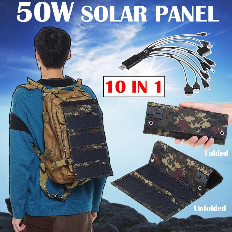 50 واط 5 فولت لوحة شمسية قابلة للطي مع 10 In1 كابل يو اس بي المحمولة هوك مقاوم للماء شاحن الطوارئ الخلايا الشمسية للتخييم الهاتف