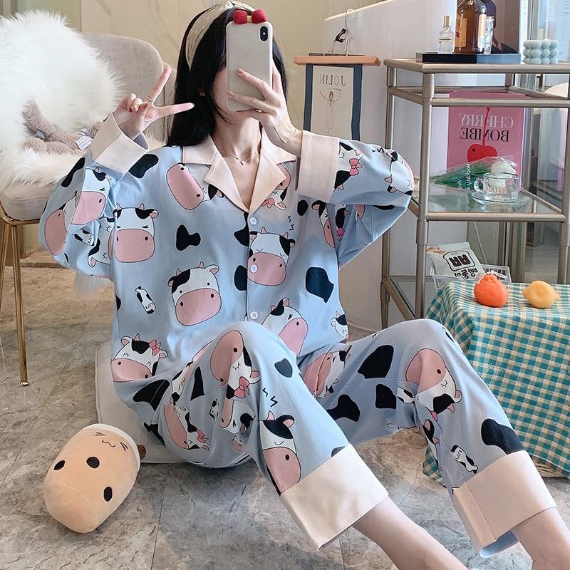 Кардиган-пижамы-для-женщин-с-длинными-рукавами-для-маленьких-девочек-на-осень-весну-свободные-в-Корейском-стиле-Тонкий-костюм-молока-можно