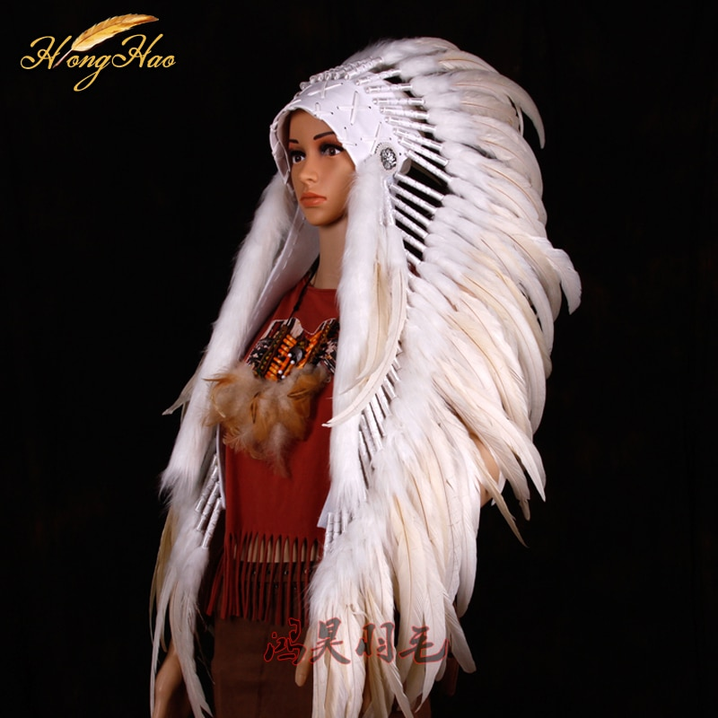 white Indian feather headdress feathered costume Indian chief feather war bonnet halloween costume