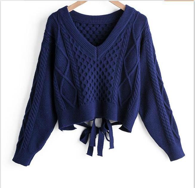Otoño mujer suéteres cortos moda mujer cuello en V espalda lazo Twist Sweater sexy suéter crop tapas mujer Camisetas de punto