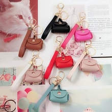 Mini Bag Women Car Keychain Creative Keyring Women Car Purse Pendant Gift PU Leather Small Handbag C