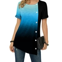 s 5xl womens large gradient t shirt casual short sleeve round neck shorts top