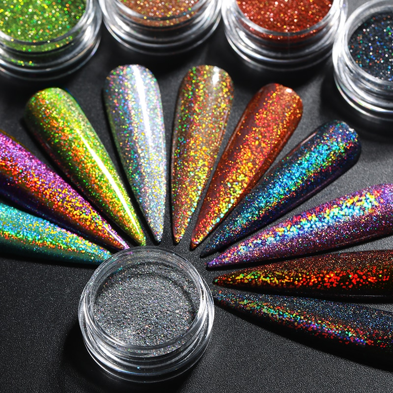 1 коробка голографическая блестящая пудра для ногтей блестящая Хромовая Пылезащитная пигмент для УФ-геля Holo маникюрное украшение для ногтей