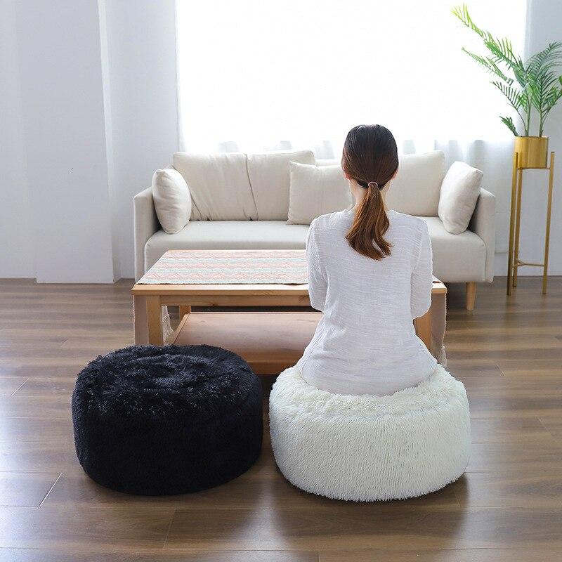 Tabouret rond court en peluche 55x25cm   Décoration de maison, tapis de Futon Portable gonflable, repose-pieds rond de salon