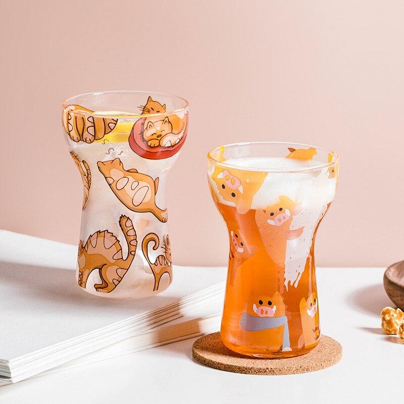 الإبداعية-صغيرة الخصر الزجاج كوب الباردة زجاجة بيرة أكواب الشرب المنزل Kawaii الكرتون كوب فواكه الآيس كريم كوب كوكتيل الزجاج هدية