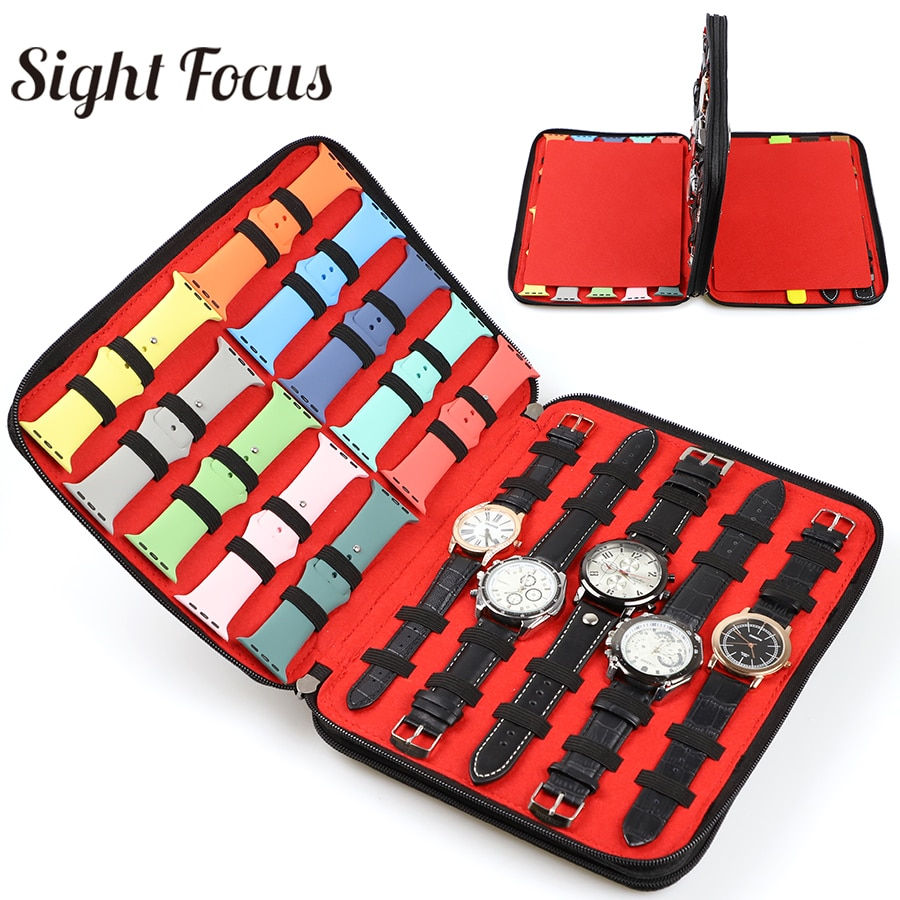 40 Slot Felt Watch Organizer Box Watch Storage Case Pouch Double Layer Watch Box For Apple Watch Strap Band Organizer Holder Bag