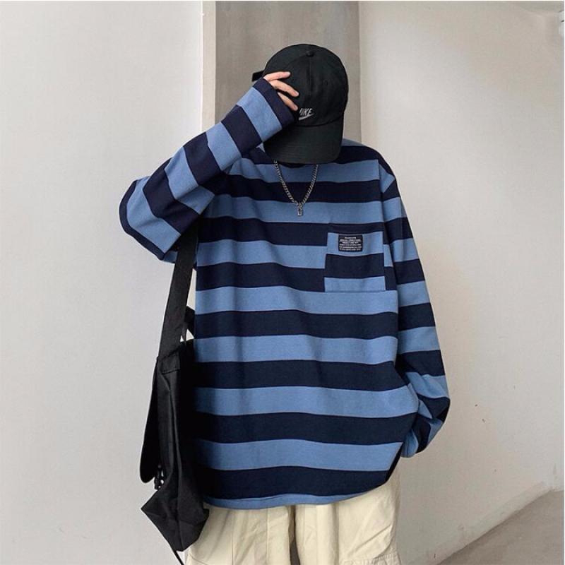 Gestreiften Langen Ärmeln T Shirts Männer Plus Größe Harajuku Kleidung Lose Koreanischen Stil T Hemd Männer Streetwear Bekleidung BF Paare Tops