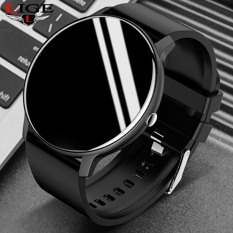 LIGE 2021 جديد ساعة ذكية الرجال شاشة تعمل باللمس كامل الرياضة اللياقة البدنية ساعة IP67 مقاوم للماء بلوتوث Smartwatch الرجال ل شاومي هواوي