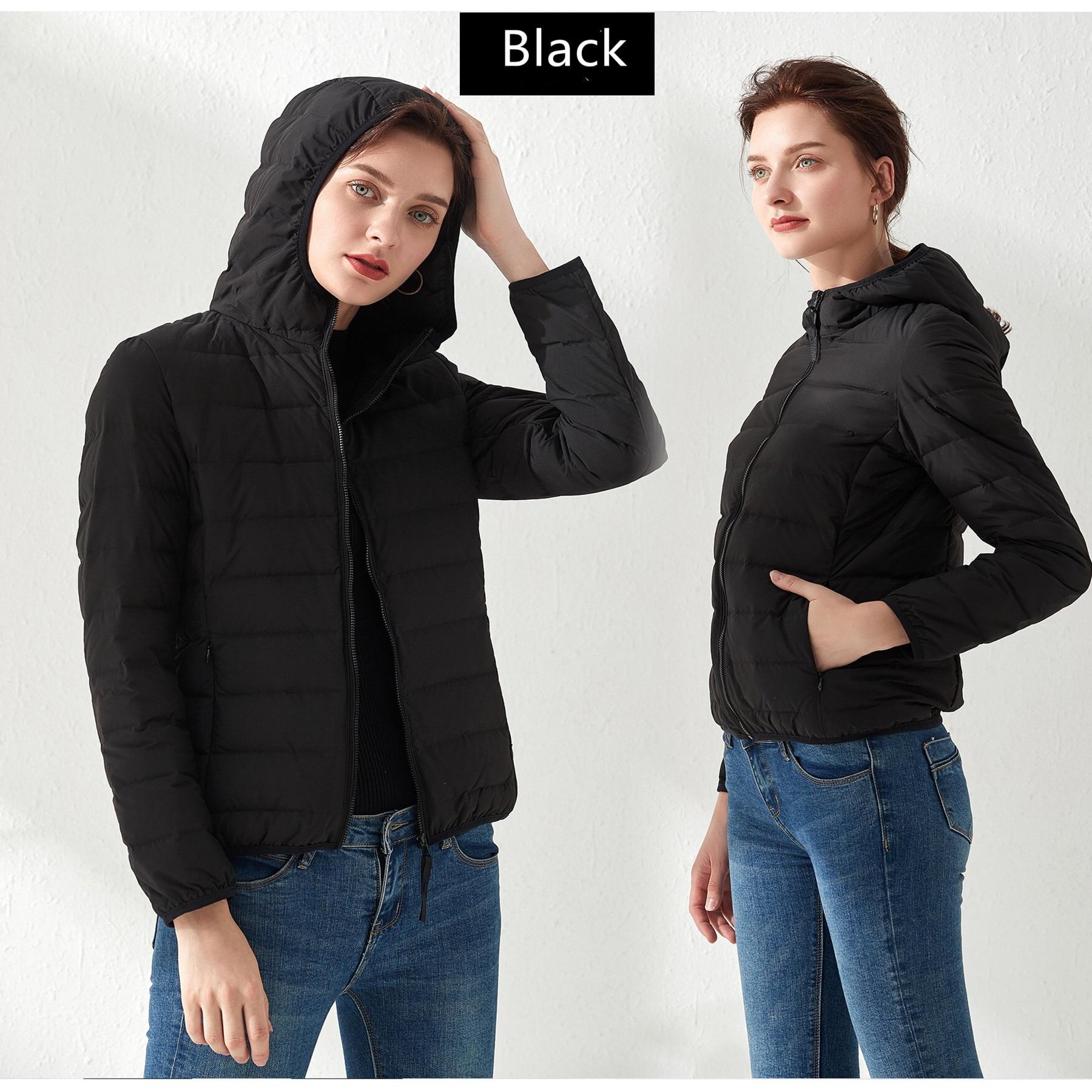 Seamless one autumn and winter lightweight down jacket women's short hooded lightweight outdoor women's thin white duck down