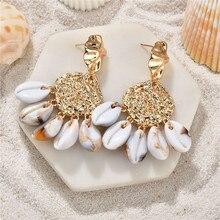 Naturel bohême mer coquille boucles doreilles pour les femmes couleur or rond géométrique coquille boucles doreilles été plage dames bijoux de mode