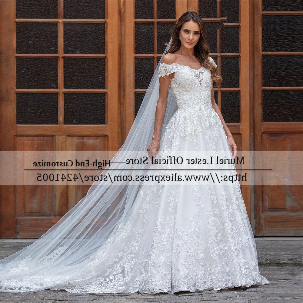 فستان من Trouwjurk برقبة على شكل V مزين بالدانتيل على شكل خط مكشوف الأكتاف لحفلات الزفاف من Vestidos Fiesta بأكمام قصيرة W683