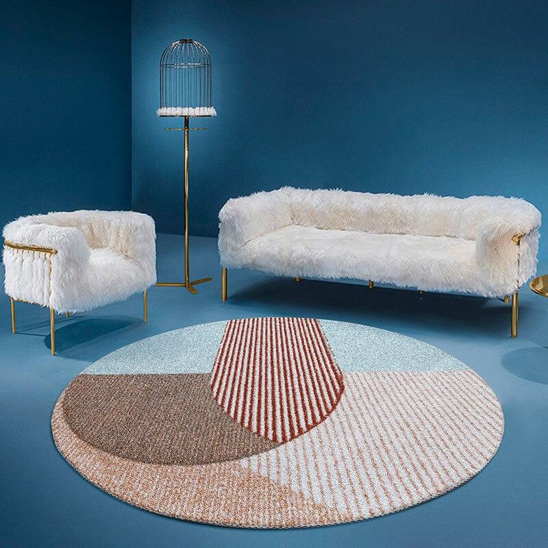 سجادة كلاسيكية على الطراز الاسكندنافي ، نمط هندسي دائري لغرفة المعيشة وغرفة النوم
