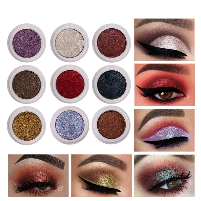 Single Color Fashion Makeup Eye Shadow Pan Soft Shimmering Long Lasting Waterproof Easy To Wear Eye Shadow Metallic Eye Cosmetic