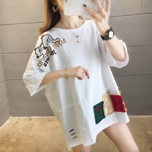 2020 été t-shirt surdimensionné Harajuku longue brodé t-shirt femmes Kawaii T-shirts femmes 90s blanc jaune trou hauts L0618