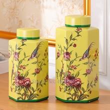 Retro Ceramics Storage Jar with Cover Bird Handmade Rural Chinese Style Storage Tank Vase Home Decorations Crafts Furnishings