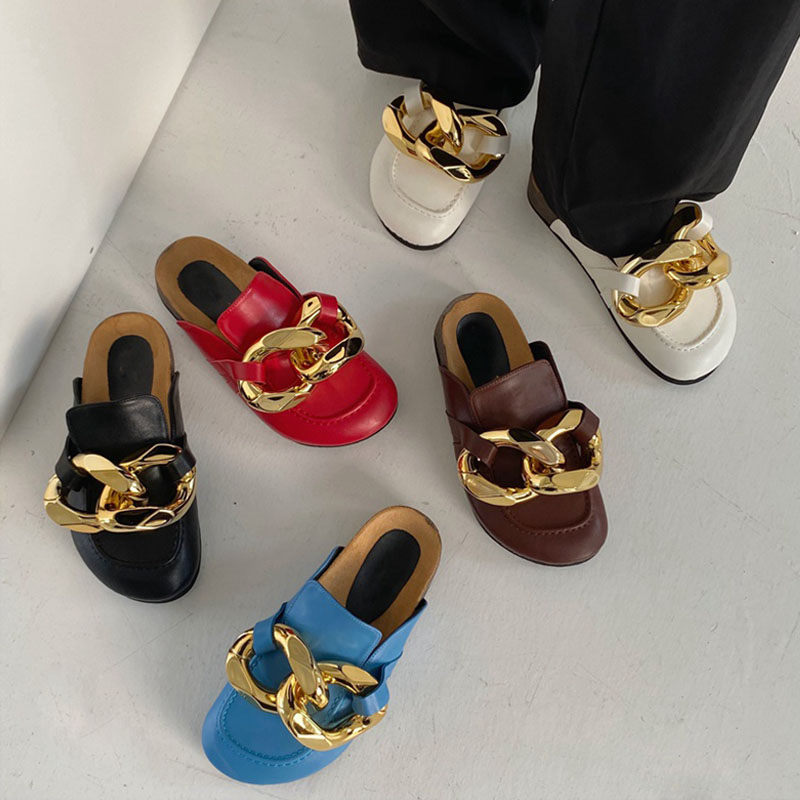 Ladies Slippers Sandals 2021 Gold Chain Slippers Thick-soled Slippers Comfortable Low Heel Casual Sl