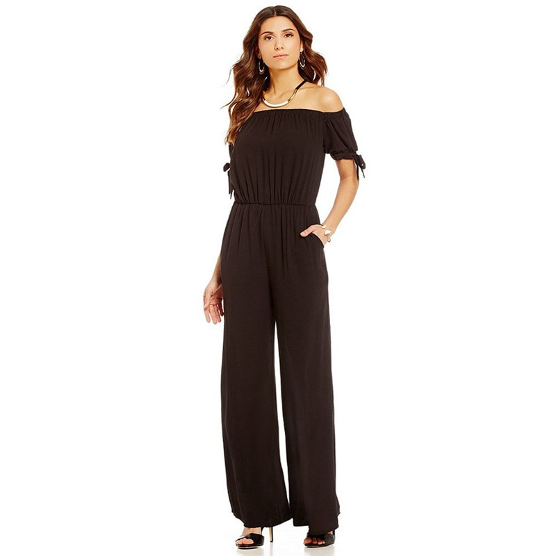 Jumpsuit For Women Summer 2021 New Fashion Sexy Polyester Chiffon Wide Leg Trousers Street Hipster High Waist Strapless Jumpsuit trendy strapless denim jumpsuit for women