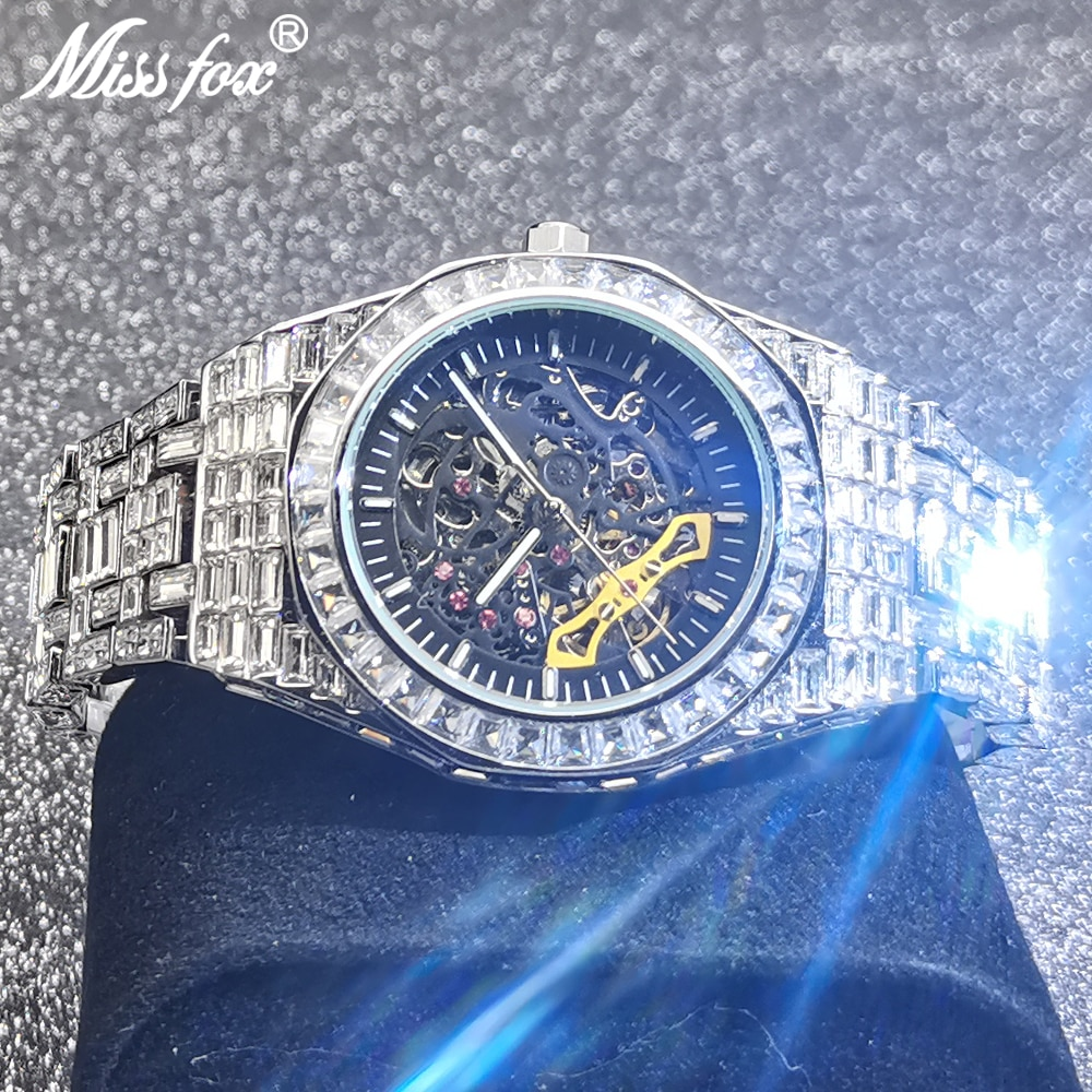 Hip Hop MISSFOX Hollow Mens Watches Automatic Mechanical Iced Out Fashion Square AAA Diamond Male Luxury Clock Relógio Masculino