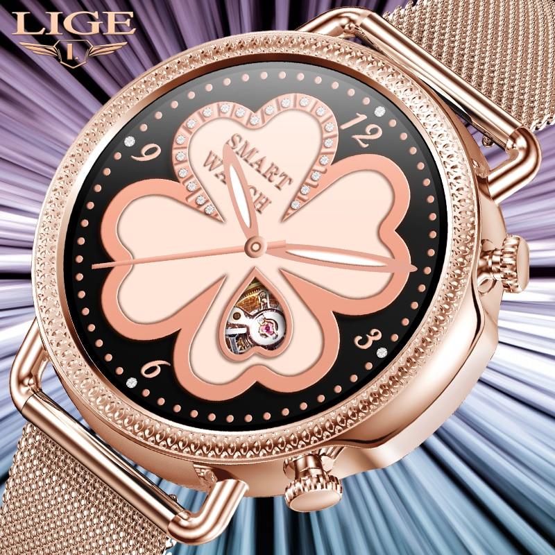 LIGE Luxury Smart Watch Women Heart Rate Blood Pressure Monitoring Weather Forecast For Android IOS