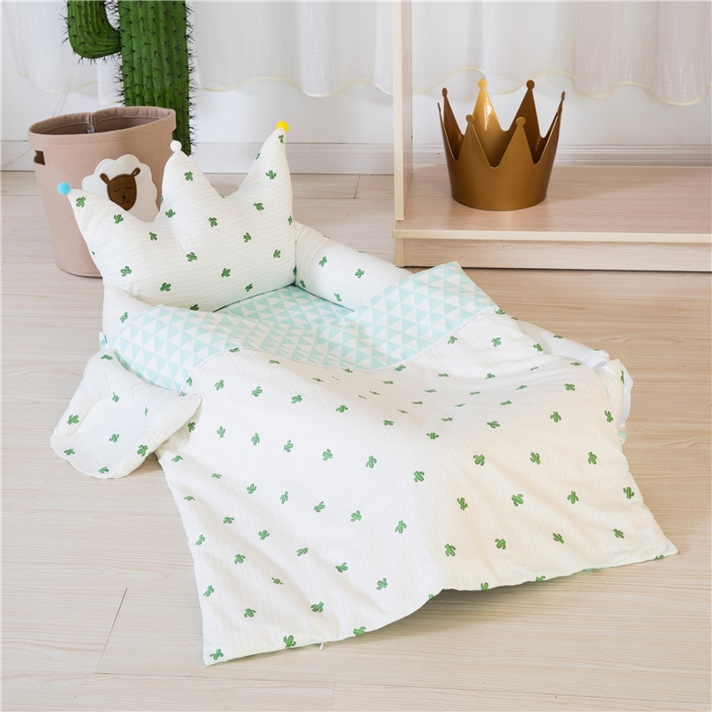 Crown Folding Portable Crib Bionic Removable and Washable Crib Travel Baby Nest Pure Cotton Newborn Crib Baby Bedding Nest Baby