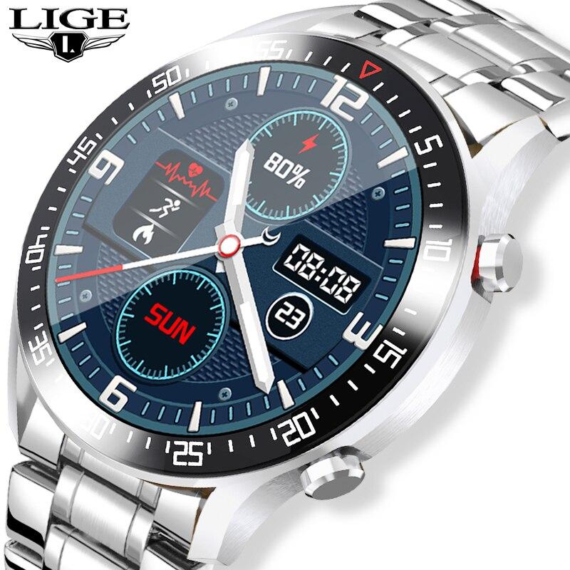LIGE 2020 جديد كامل شاشة تعمل باللمس رجالي ساعة ذكية لنظام أندرويد iOS IP68 مقاوم للماء الرياضة اللياقة البدنية ساعة فاخرة ساعة ذكية للرجال