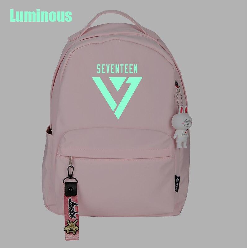 SEVENTEEN Kpop mochila de moda de Color caramelo luminosa coreano mochila Kawaii bolsas para la Escuela de las niñas adolescentes Fans Campus bolso