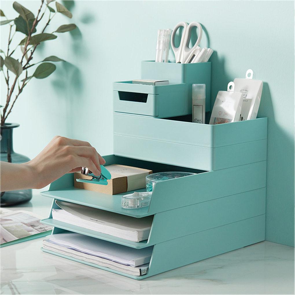 Office Desktop Organizer A4 Paper Drawer Storage Box Stackable File Cabinet Pen Holder Document Case Holder A4 Size Storage Box
