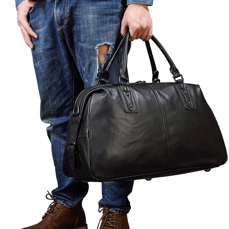 Leather men's travel bag for short-distance business trips, business carry-on luggage bag, large-capacity travel, fitness bag, m