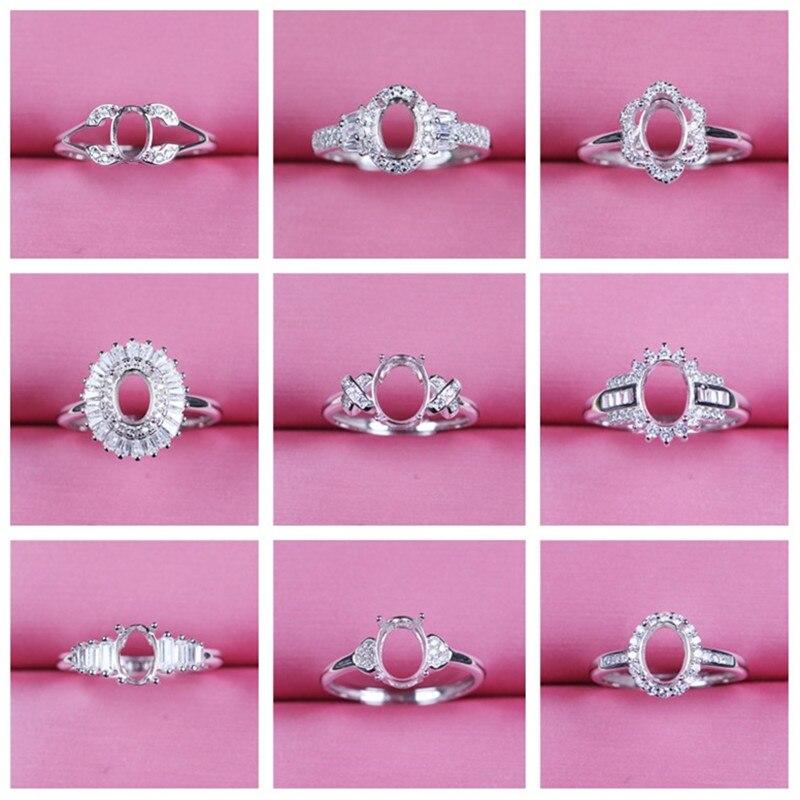Forma oval ajustável anel base de prata 925 diy pedras preciosas jóias definir descobertas 5*7 6*8 moda feminina um