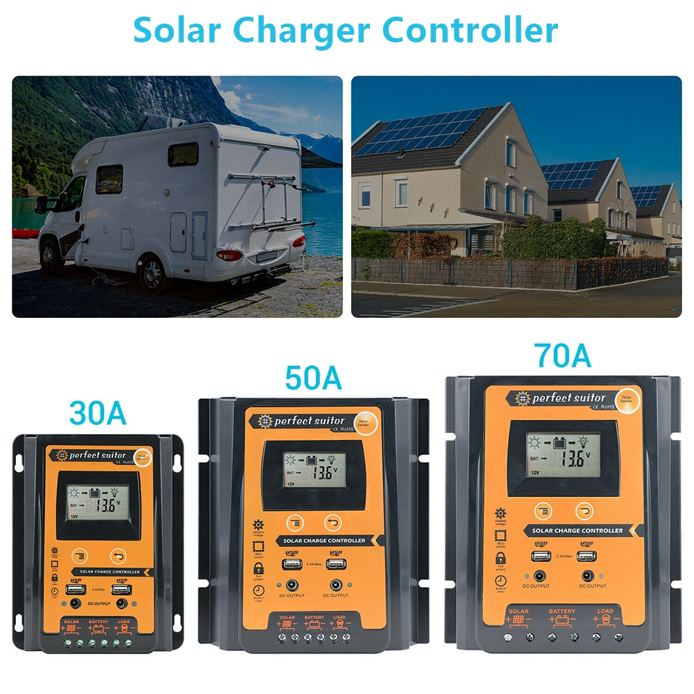 30/50/70A MPPT الطاقة الشمسية تهمة تحكم لوحة بطارية منظم 12/24V المزدوج USB LCD عرض الشمسية شاحن تحكم