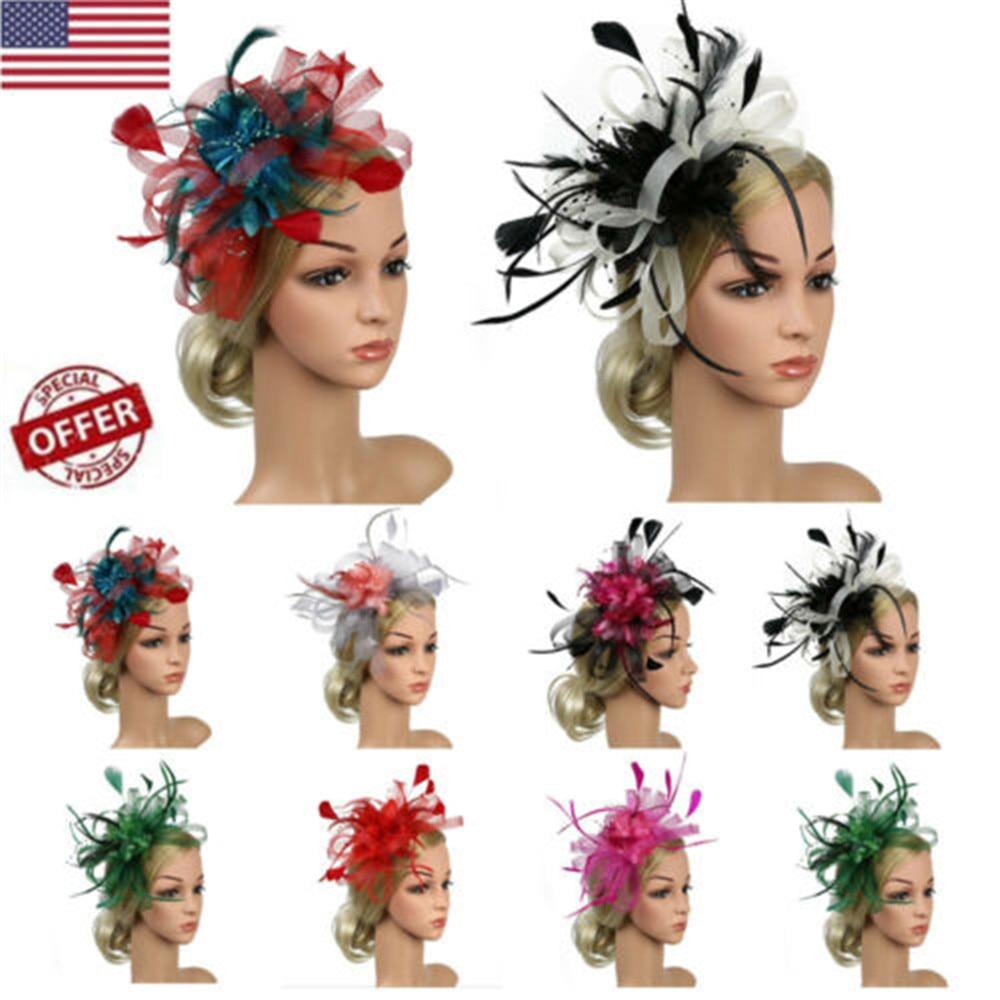 2019 Newest arrival Navy Blue Feather Net Hair Fascinator Beak Clip Hair Clip Hat Races Wedding 20