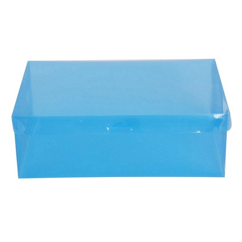 Grande negócio caixa de sapato caixa de sapato caixa de sapato caixa de armazenamento de sapato plástico dobrável caixa de sapato organizador (azul)