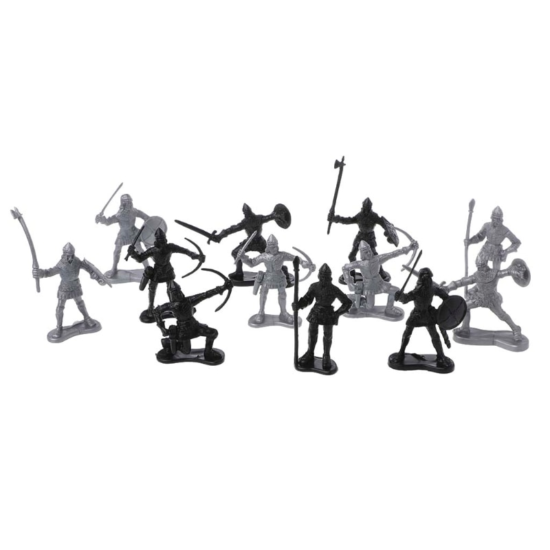 14 unids/set caballeros medievales juguete catapulta ballesta soldado figuras Playset carro E65D