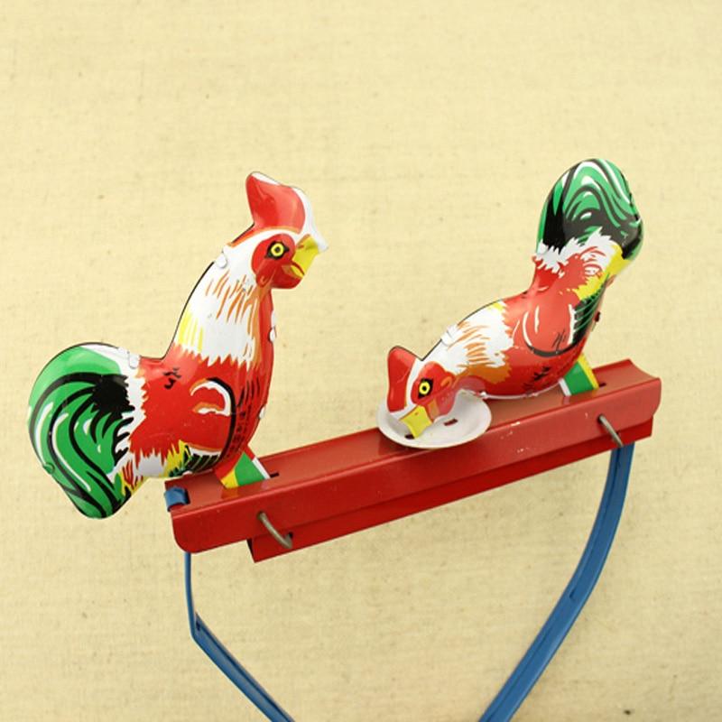 Nuevo juguete de estaño Vintage para pollitos, interruptor de empuje, regalo de colección, juguete de cuerda