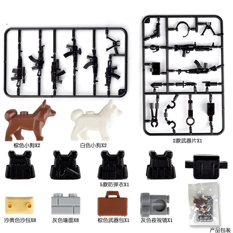Military Weapon Dog Piece Gun Building Blocks Bricks WW2 Toy For Children Sets MPJ013 Sandbag Gifts Jacket Accessories Militarys