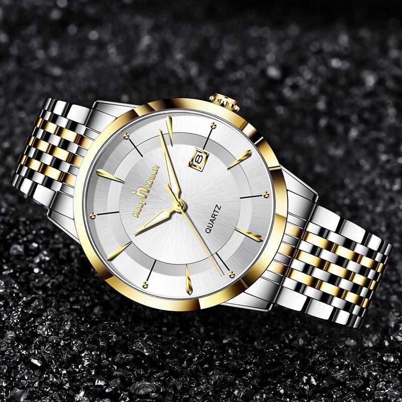 New Men's Watch Luxury Stainless Steel Watches Fashion Man Quartz Wristwatch Life Waterproof Male Clock Relojes Para Hombre