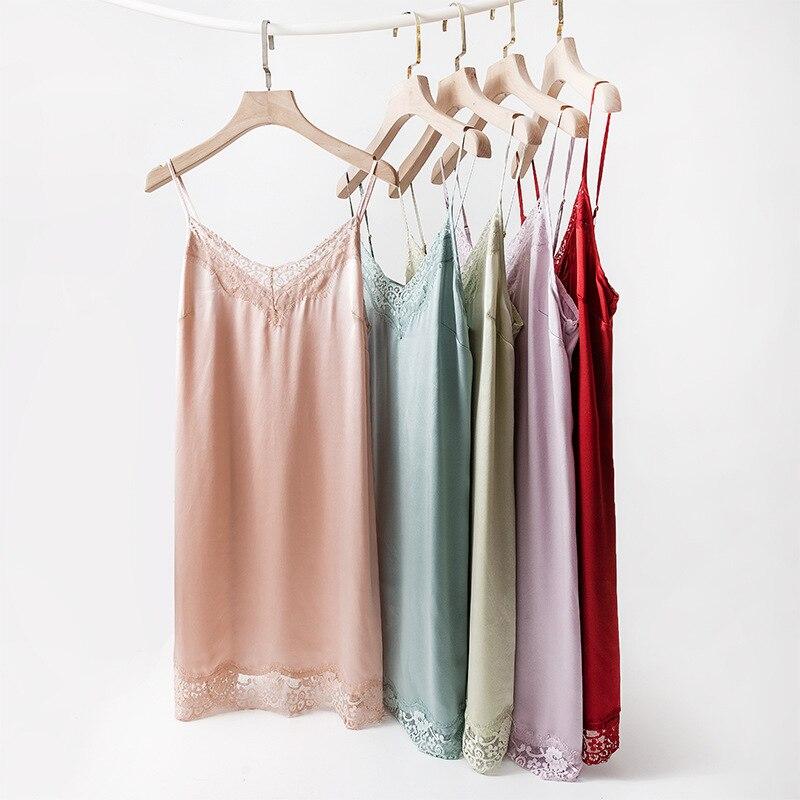 Birdsky ، 1 قطعة 100% الطبيعي التوت الحرير النساء باس النوم بروتيل قمصان النوم منامة زلة اللباس مثير الدانتيل v الرقبة ، 5 ألوان. أو-74