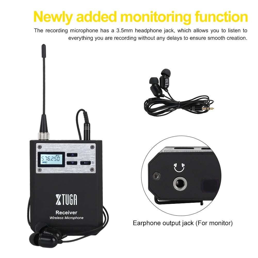 XTUGA Intelligent Noise UHF Wireless Lavalier Microphone System Whole Metal,for DSLR Cameras,Camcorder,Iphone,Android Smartphone enlarge